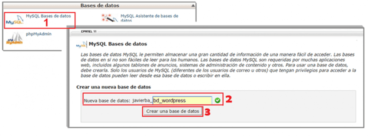 como crear una base de datos en wordpress